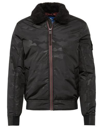 Jacket Blouson-Jacke mit Camouflage-Muster schwarz