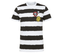 Shirt 'printed stripes and badges' schwarz / weiß