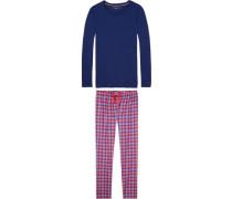 Schlafanzug 'set LS' blau / rot / weiß