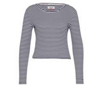 Gestreiftes Cropped Shirt 'SNKatia' blau / mischfarben