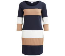 3/4-ärmeliges Kleid 'vitinny Super Blocked' beige / dunkelblau / weiß