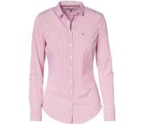 Bluse 'thdw Basic Stripe Stretch Shirt L/S 2' hellrot / weiß