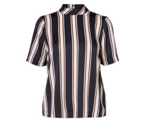gestreifte Bluse mit kurzen Ärmel creme / navy / rot