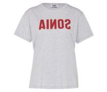 T-Shirt mit Label-Print grau / rot