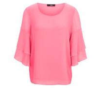 Crêpe-Bluse mit Volant-Ärmeln pink