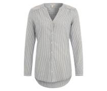 Bluse mit Längsstreifenmster rauchblau / offwhite