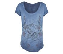 T-Shirt 'flower' rauchblau