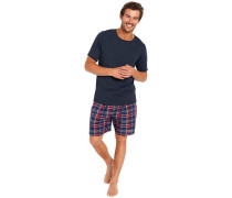 Pyjama kurz nachtblau / rot