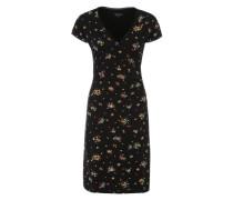 Jerseykleid mit Blumenprint schwarz
