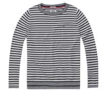 Pullover 'thdw Basic Strp CN Sweater L/S 13' dunkelgrau / weiß