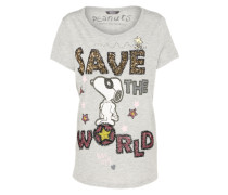 'Peanuts snoopy save the world' T-Shirt graumeliert