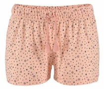 Shorts im Alloverprint mit Bindekordel pfirsich