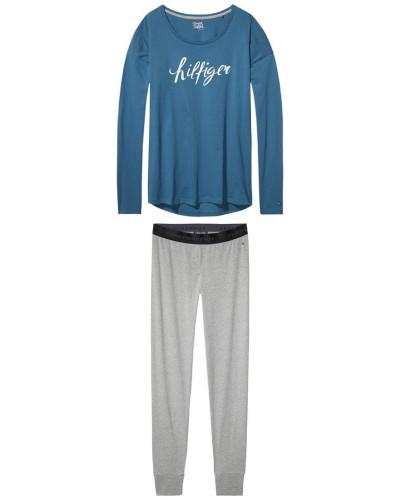 Schlafanzug taubenblau / grau