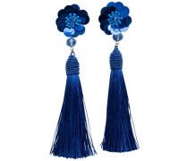 Quasten Ohrringe blau