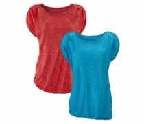 T-Shirts (2 Stück) blaumeliert / rotmeliert