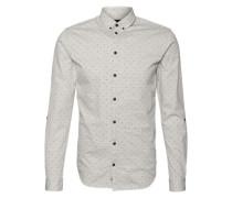 Hemd mit Allover-Print 'Darrel' hellgrau / schwarz