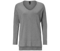 V-Pullover graumeliert