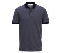 Gemustertes Poloshirt blau