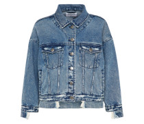 Jeansjacke 'Fools Eat Cool Wolfie' blue denim