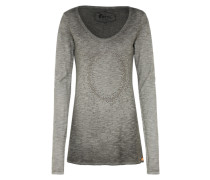 Shirt mit Ziersteinen 'andra Pearls' hellgrau