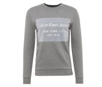 Sweatshirt mit Flockdruck graumeliert