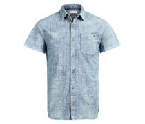 Gemustertes Button-down-Kurzarmhemd blau