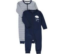 Schlafanzug 2er-Pack ultramarinblau / weiß