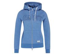 Zip Hoodie mit Label-Stitching blau