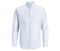 Bügelfreies Langarmhemd blau / weiß