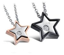 Schmuckset 'Stern' mit 2 Ketten und Anhänger (4tlg.) rosegold / schwarz / silber