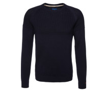 Pullover 'structured crew-neck' nachtblau