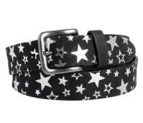 Ledergürtel mit glänzenden Sternen schwarz / weiß