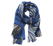 Schal mit modischem Muster beige / blau / braun / weiß