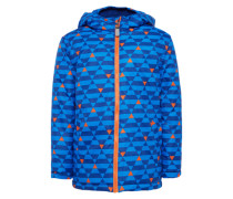 Winterjacke 'allover printed jacket' blau / orange