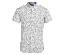 Bedrucktes Kurzarmhemd weiß
