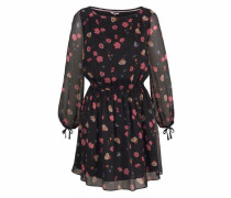 Kleid AOP Blumen rosa / schwarz