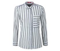 Bluse mit verdeckter Knopfleiste taubenblau / weiß