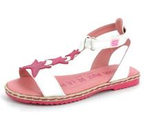 Sandale Leder pink / weiß