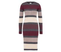 Kleid 'striped' anthrazit / mischfarben / weinrot