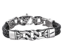 Armband aus Leder in mehrreihiger Optik mit Edelstahl schwarz / silber