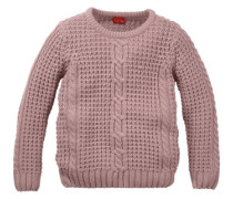 Pullover mit Zopfmuster pink