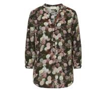 Bluse mit trendigen Tupfen Dessin khaki / rosé