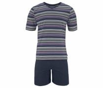 Pyjama kurz marine / grau / lila / weiß