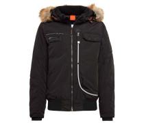 Jacket Jacke mit Kapuze mit Fake-Fur schwarz