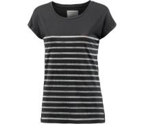 T-Shirt 'Liv I Wish' dunkelgrau / weiß