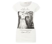 Printshirt mit Glitzersteinchen weiß