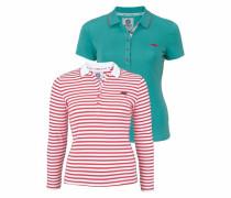 Langarm-Poloshirt (Set 2 tlg. mit T-Shirt) petrol / rot / weiß
