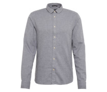 Hemd 'Longsleeve shirt in dobby patterns' grau