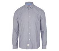 Gemustertes Hemd 'Fitted faux uni shirt' taubenblau