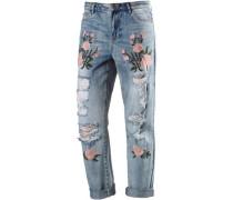 Boyfriend Jeans blue denim / grün / rosa